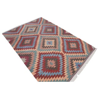 Turkish Handmade Kilim Rug Anatolia Zigzag Rug - 6′6″ × 9′10″