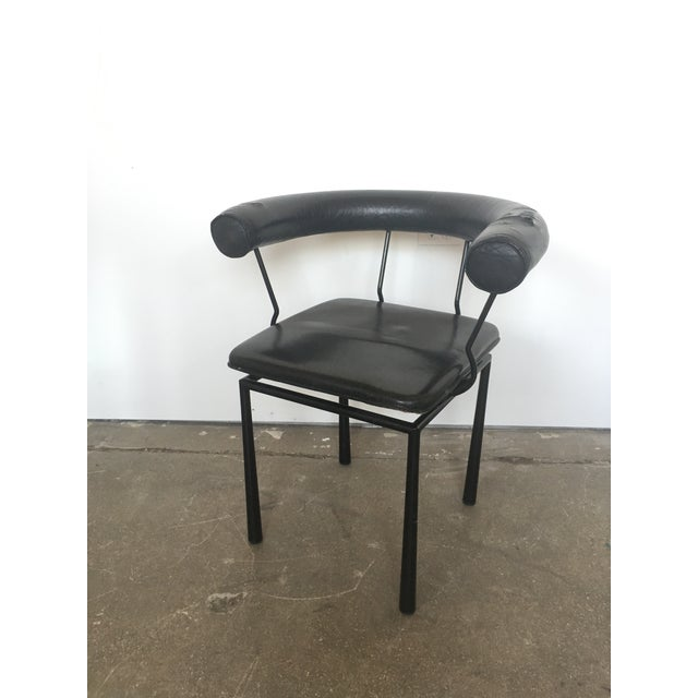 Image of Italian Black Leather Chair