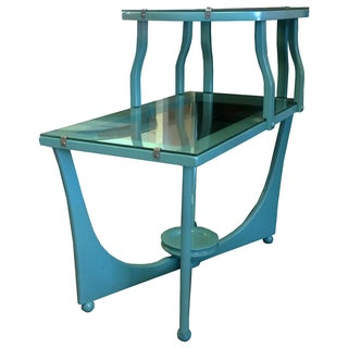 Mid-Century Green Lacquered Two-Tier Side Table