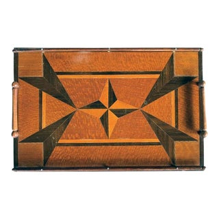 A Handsome English Rectangular Tray with Star Inlay, Wood Gallery and Handles