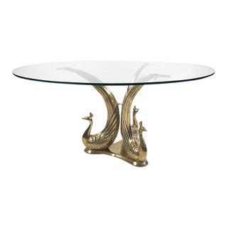 Brass and Glass Peacock Table