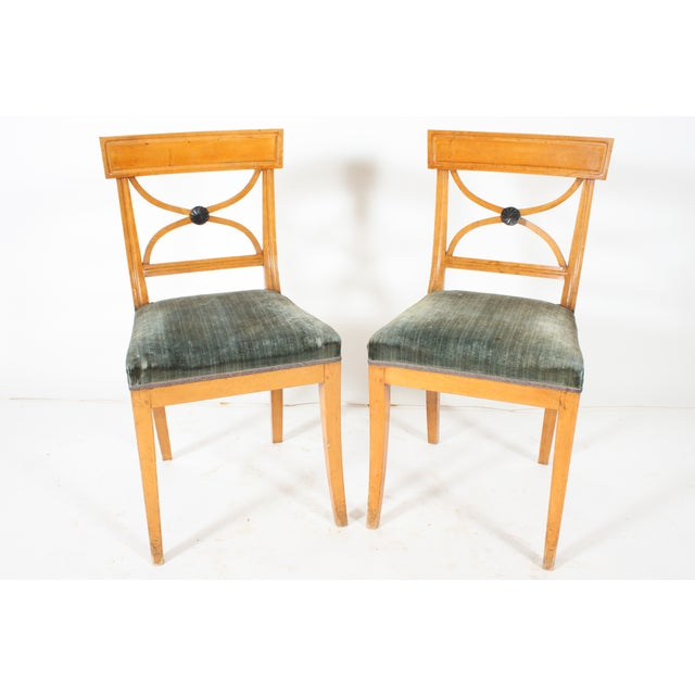Image of Swedish Velvet Seated Side Chairs - Pair