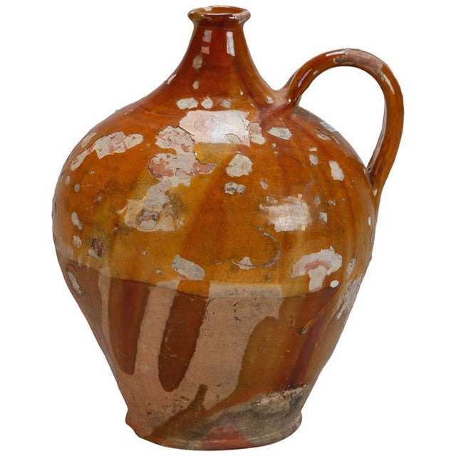 Image of Antique French Pottery Jug with Yellow Glaze