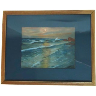 "Edwardian ""Moonlight Surf"" Seascape Painting"