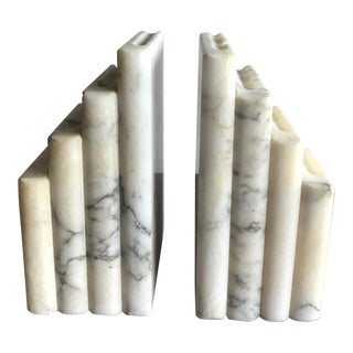 Italian Marble Book Bookends - A Pair