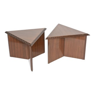 "Pair of American Modern Triangular ""Talesin"" Low Tables, Frank Lloyd Wright"