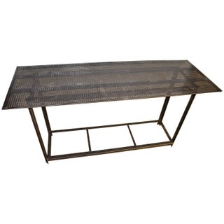 Vintage Industrial Work Table with Steel Grate Top