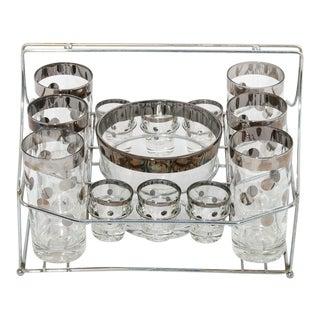 Sterling Silver Polka-Dot Pattern Glassware - Set of 13