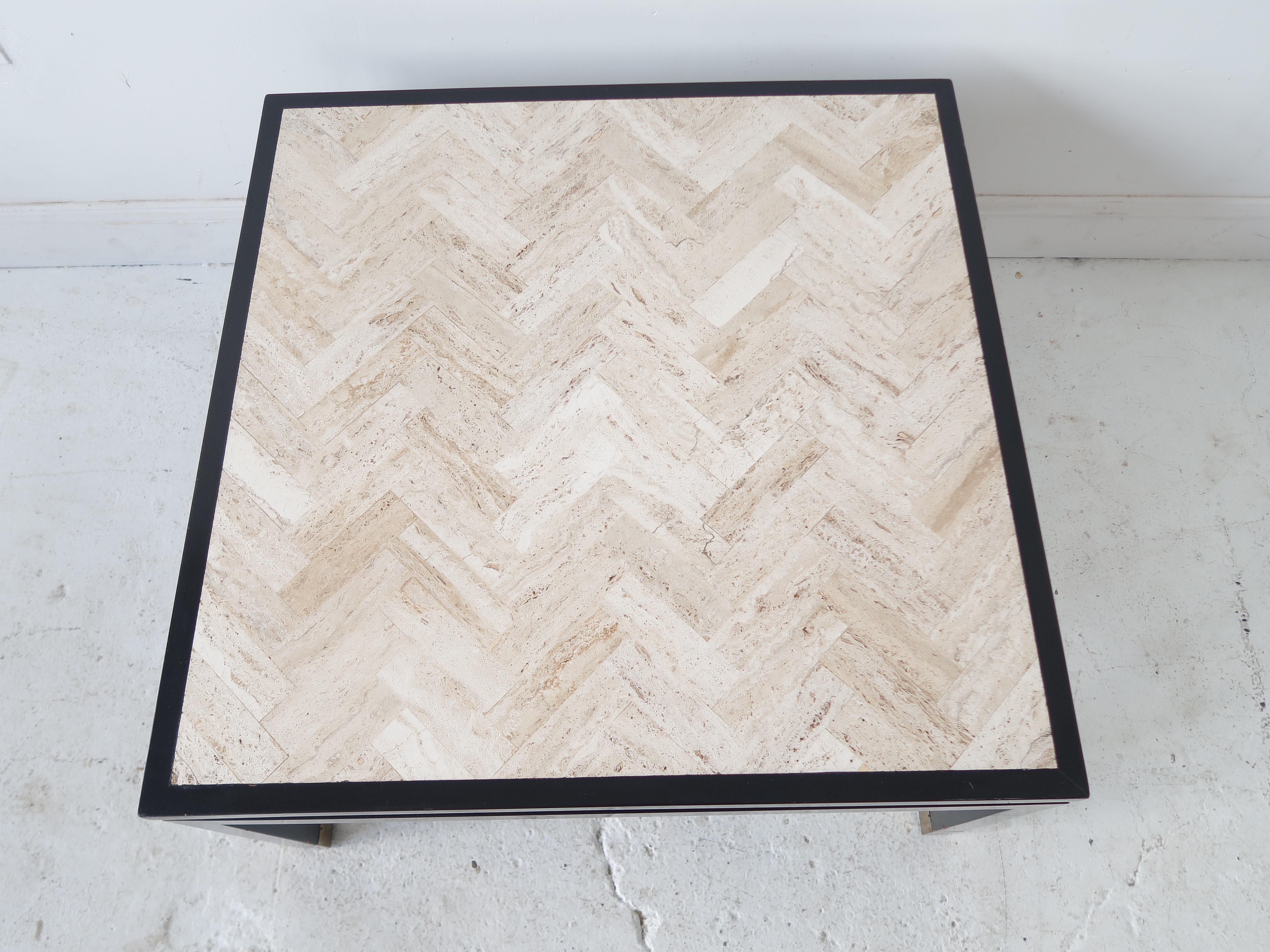 Square White Travertine Coffee Table With Herringbone Design