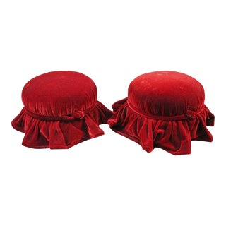 Hollywood Regency Red Velvet Hassocks - A Pair