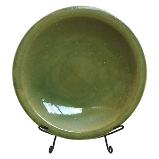 Large Green Glazed Charger on Metal Stand