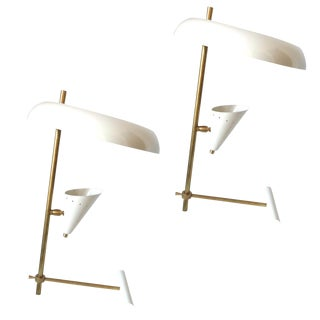 Pair of Italian Brass Table Lamps in a Style of Stilnovo