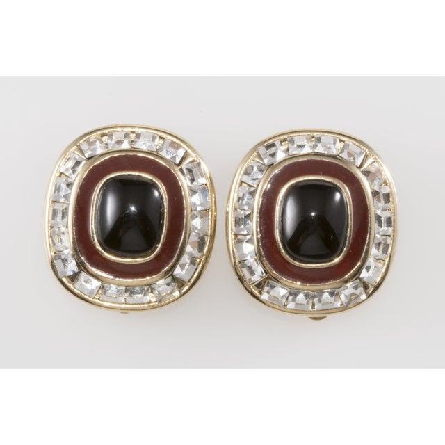 Image of 80s Rhinestone & Enamel Clip Earrings