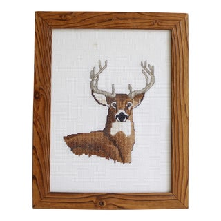 Vintage Deer Needlepoint Wall Hanging