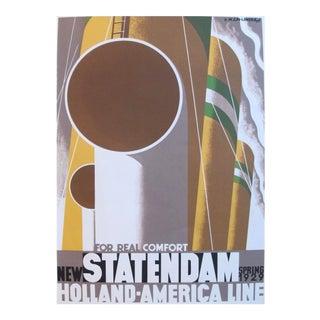 Classic French Art Deco Poster, Statendam Oceanliner Restrike