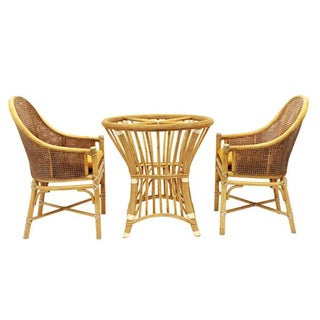 McGuire Rattan and Cane Dining Set
