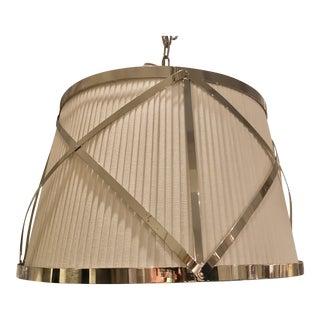 Polished Nickel Pleated Drum Shade Pendant Light