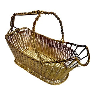 French Wine Carrier Basket in Gold Woven Metal