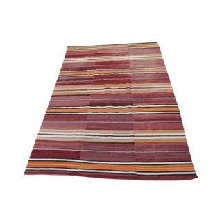 Striped Turkish Flat-Weave Kilim Rug - 5′9″ × 8′8″