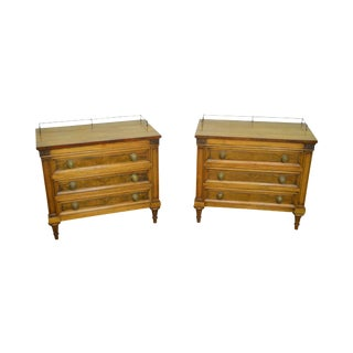 Karges Walnut French Louis XVI Style Chest Nightstands - A Pair