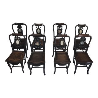 Asian Marble Inlaid Chairs- Set of 8