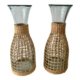 Wicker and Glass Carafes - A Pair