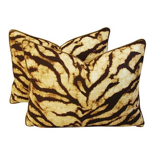 Schumacher Tiger Linen & Velvet Pillows - A Pair