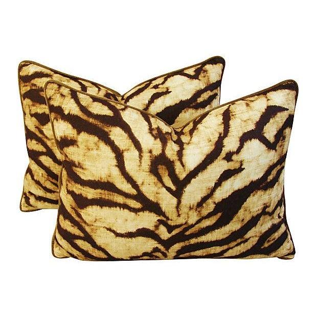 Image of Schumacher Tiger Linen & Velvet Pillows - A Pair