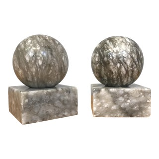 Gray Marble Sphere Bookends - A Pair