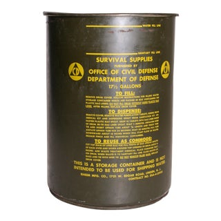 Vintage Industrial Green Metal Military Water Barrel with Lid