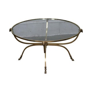LaBarge Italian Round Brass & Glass Rams Head Hoof Foot Regency Style Coffee Table