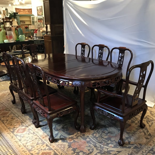 Ling Chi Rosewood Dining Table & 8 Chairs Set - Image 2 of 10