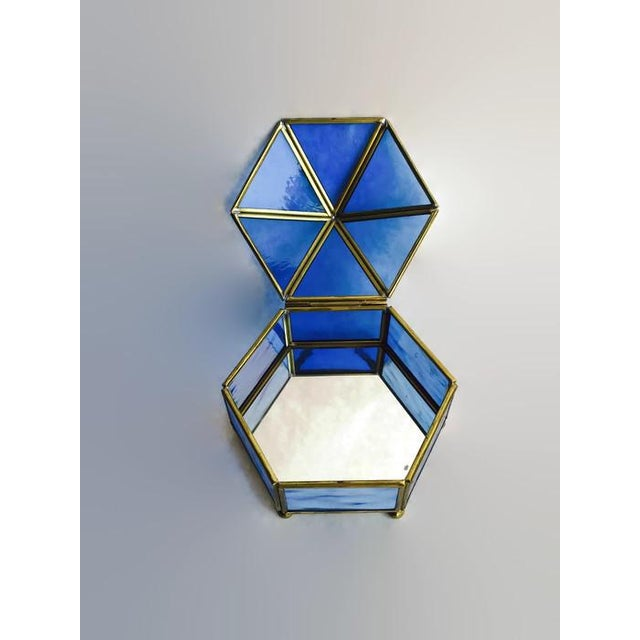 Image of Vintage Brass & Stained Glass Display Case