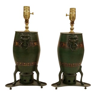 Chinese Green Drum Shaped Lamp - A Pair