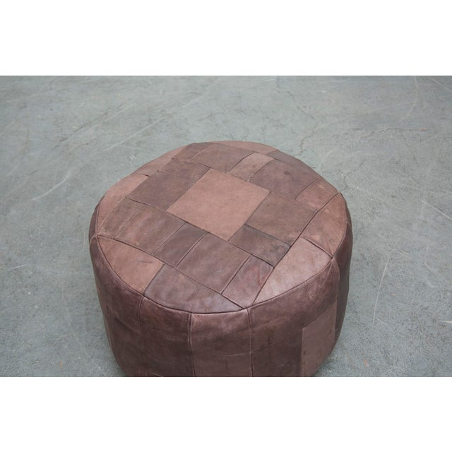Brown Leather De Sede Style Patchwork Ottoman - Image 4 of 7