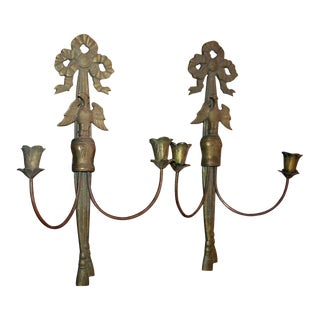 French Bronze Candlestick Sconces - A Pair