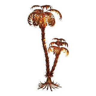 Huge Gilt Metal Two-Trunk Palm Tree Floor Lamp by Hans Kögl
