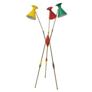 Original Stilnovo Italian Brass Floor Lamp