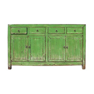 Chinese Distressed Lime Green Buffet Cabinet
