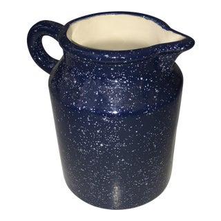 Country Blue & White Speckled Ceramic Jug