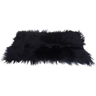 "Black Long-Haired Goat Skin Rug -- 2'1"" x 4'"