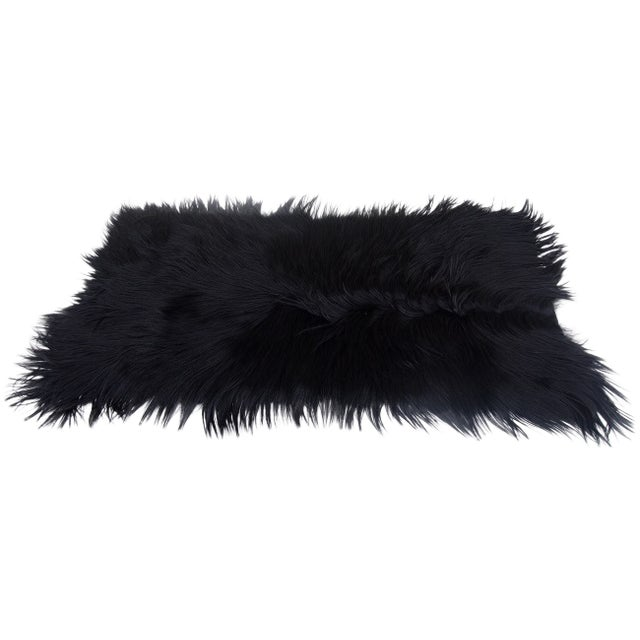 "Image of Black Long-Haired Goat Skin Rug -- 2'1"" x 4'"