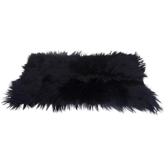 Black Long-Haired Goat Skin Rug - Image 1 of 4