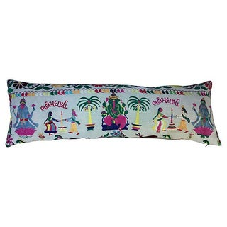 Indian Embroidered Body Pillow with Ganesha