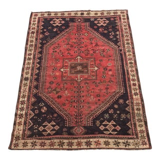 "Vintage Persian Shiraz Area Rug - 6'4"" x 8'11"""