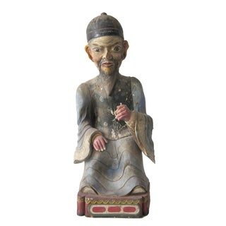Late Qing Dynasty Carved Wooden Ancestor Sculpture