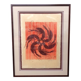 """Crawfish"" Japanese Block Print"