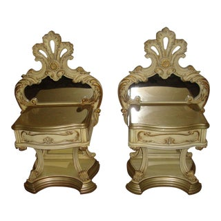 Hollywood Regency Mirrored Commodes - a Pair