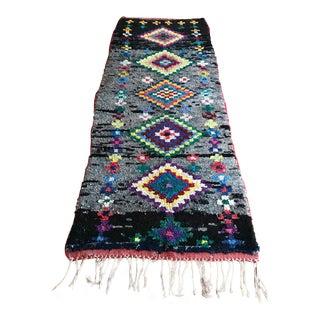"""Vintage """"Soko"""" Moroccan Boucherouite Rug - 3′5″ × 9′5″"""