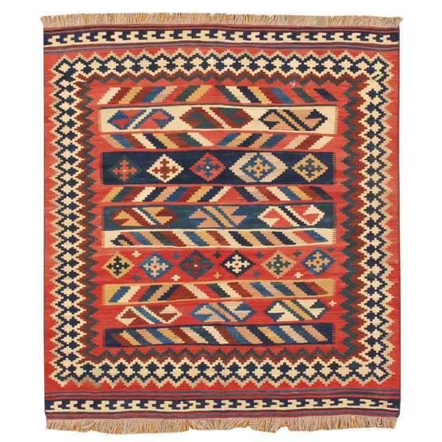 Image of Apadana -Red Geometric Pattern 5 x 6 Vintage Kilim
